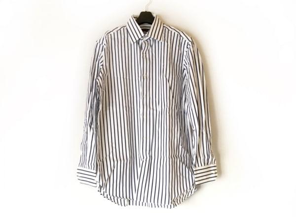 ケント&カーウェン 長袖シャツ サイズL メンズ美品  白×ネイビー×マルチ ストライプ