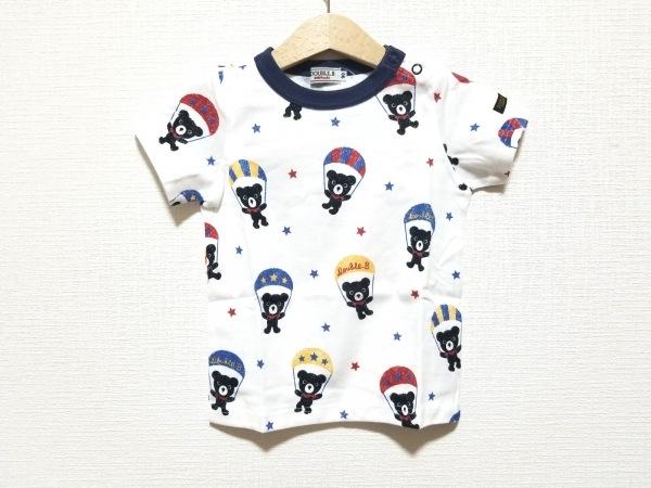 ミキハウス 半袖Tシャツ サイズ90 ユニセックス美品  白×黒×マルチ 子供服/クマ