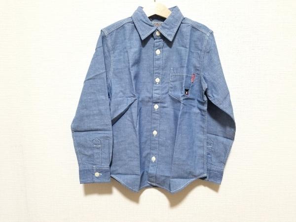 ミキハウス 長袖シャツブラウス サイズ130 レディース美品  ブルー 子供服