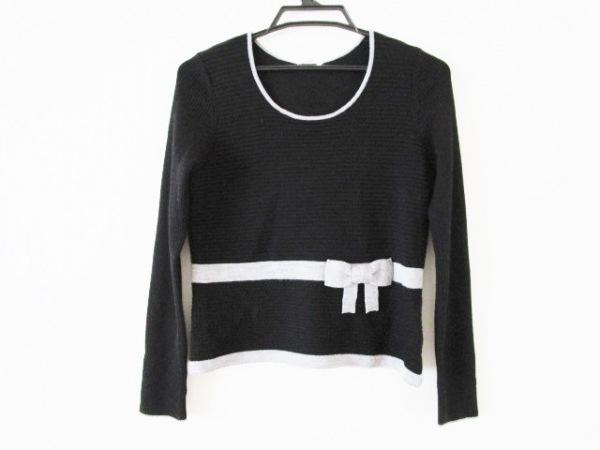 トゥービーシック 長袖セーター サイズ3 L レディース 黒×ライトグレー リボン