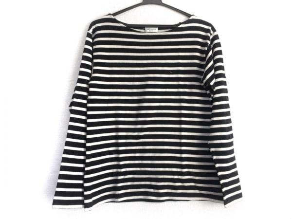 サンローランパリ 長袖Tシャツ サイズS レディース 黒×白 ボーダー