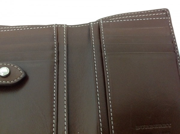 バーバリーブルーレーベル Wホック財布 アイボリー×ダークブラウン×マルチ