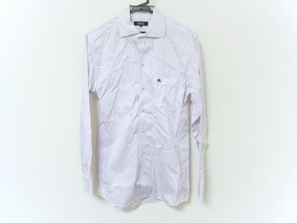 バーバリーブラックレーベル 長袖シャツ メンズ 白×パープル ストライプ