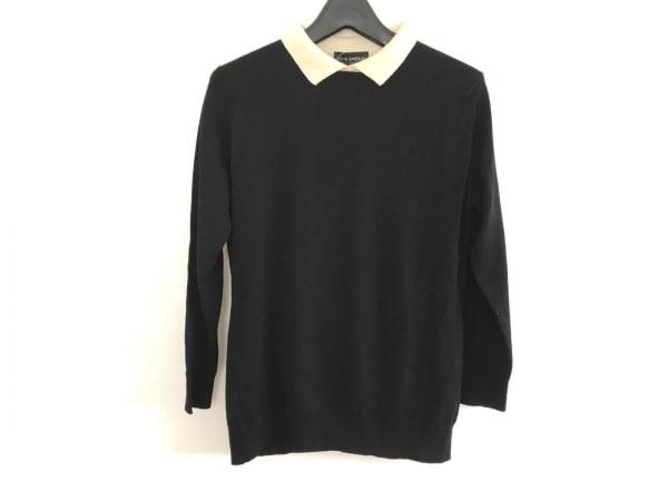 JOHN SMEDLEY(ジョンスメドレー) 長袖セーター レディース美品  黒×アイボリー