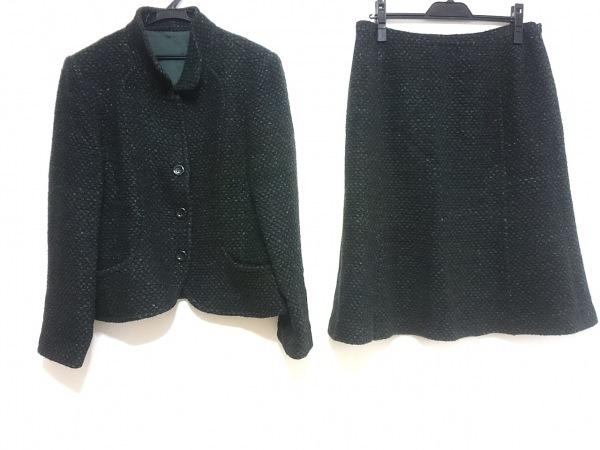 Leilian(レリアン) スカートスーツ レディース 黒×ダークグリーン×マルチ ツイード