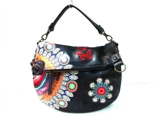 Desigual(デシグアル) ハンドバッグ 黒×マルチ 刺繍/スパンコール 合皮