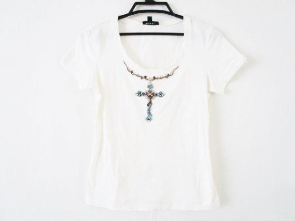 EPOCA(エポカ) 半袖Tシャツ サイズ40(I) M レディース 白×ライトブルー×マルチ
