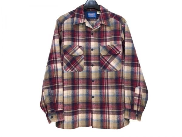 ペンドルトン 長袖シャツ サイズM メンズ ベージュ×レッド×マルチ チェック柄