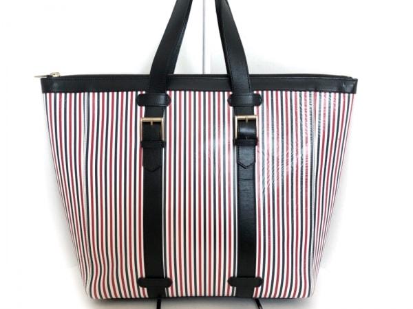 トムブラウン ハンドバッグ 黒×白×レッド ストライプ PVC(塩化ビニール)×レザー