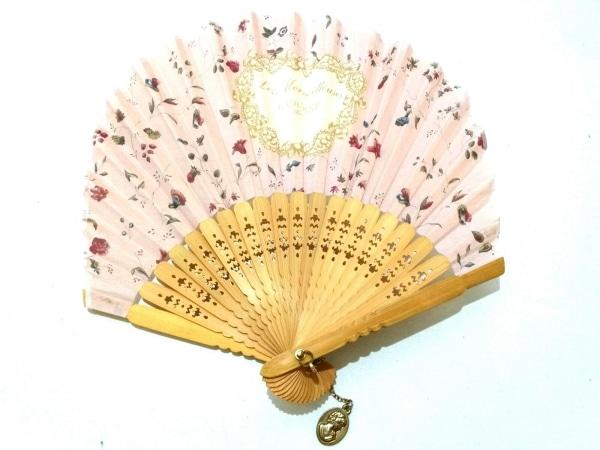 LADUREE(ラデュレ) 小物 ピンク×ライトブラウン×マルチ 扇子/花柄 ウッド×コットン