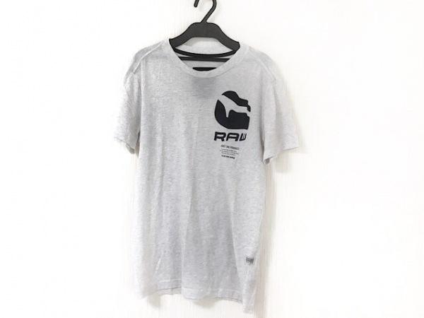 G-STAR RAW(ジースターロゥ) 半袖Tシャツ サイズXS メンズ ライトグレー×黒