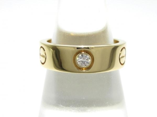 カルティエ リング 53美品  ラブリング ハーフダイヤ K18YG×ダイヤモンド 3Pダイヤ