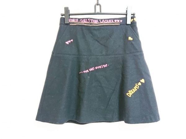 クリスチャンラクロワ スカート サイズ38 M レディース 黒×ピンク×イエロー 刺繍