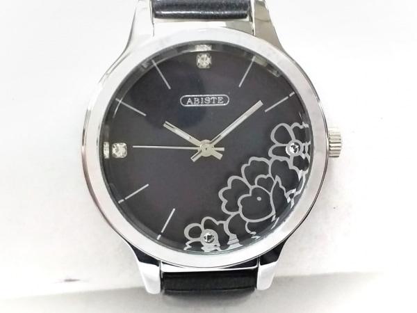 ABISTE(アビステ) 腕時計 - レディース ラメ革ベルト/シェル文字盤/フラワー ボルドー