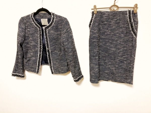 ヤンガニー スカートスーツ サイズ38 M レディース美品  ネイビー×黒×アイボリー