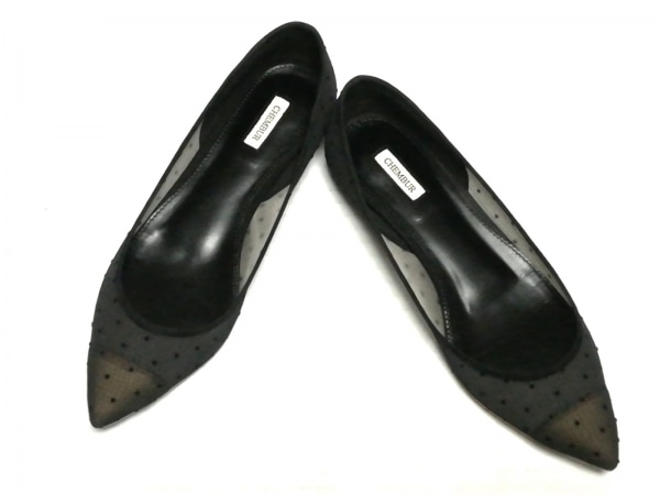 CHEMBUR(チェンバー) フラットシューズ 36 1/2 レディース 黒 シースルー 化学繊維