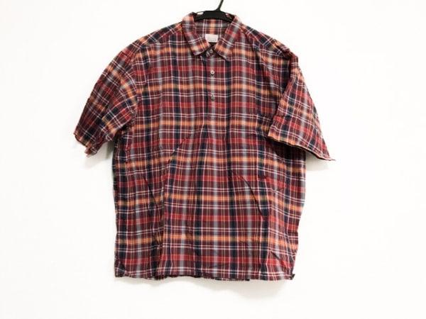 Papas(パパス) 半袖シャツ サイズM メンズ美品  ボルドー×グレー×マルチ チェック柄