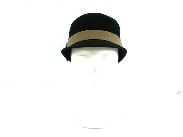 iBlues(イブルース) キャップ 黒×ベージュ×オレンジ リボン ウール