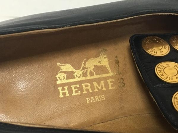 HERMES(エルメス) パンプス 35 レディース 黒 セリエボタン レザー