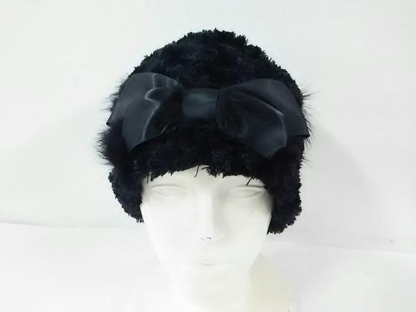 coeur ripe(クールライプ) 帽子美品  黒 リボン ポリエステル×ミンク