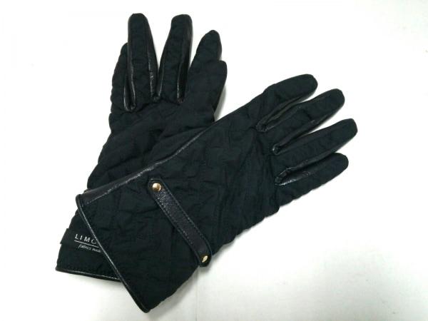 トランスコンチネンス 手袋 レディース 黒 キルティング ナイロン×レザー