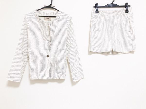 ヒューマノイド スカートスーツ サイズS レディース 白×ネイビー ストライプ
