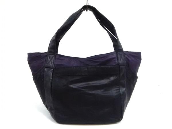 PAPILLONNER(パピヨネ) トートバッグ 黒×パープル 化学繊維×合皮
