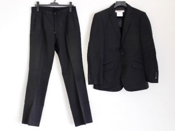 キャサリンハムネット シングルスーツ サイズL メンズ 黒 肩パッド/ストライプ/LONDON