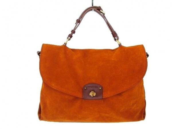 sergio rossi(セルジオロッシ) ハンドバッグ オレンジ×ブラウン スエード×レザー