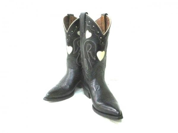 Montana(モンタナ) ブーツ 7 B レディース 黒×アイボリー ハート レザー