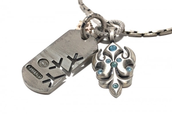 BICO(ビコ) ネックレス 金属素材×ラインストーン シルバー×ライトブルー