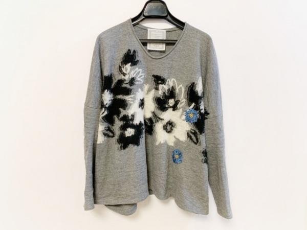 ビアズリー 長袖セーター サイズF レディース グレー×黒×ブルー フラワー