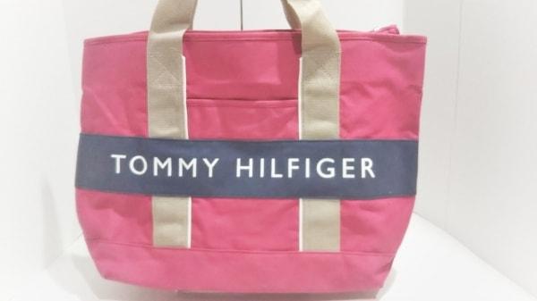 トミーヒルフィガー ハンドバッグ美品  レッド×ネイビー×ベージュ キャンバス