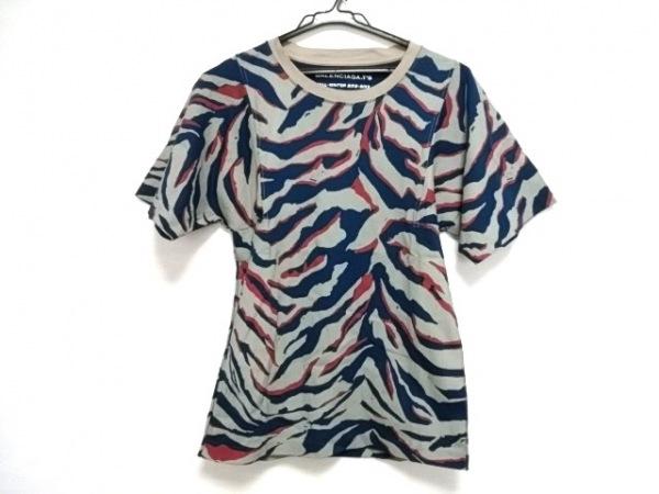 バレンシアガ 半袖Tシャツ メンズ美品  301046 ライトグレー×ブルー×レッド