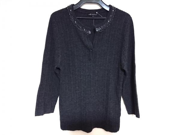 ニジュウサンク 七分袖セーター サイズ44 L レディース美品  ダークグレー×グレー