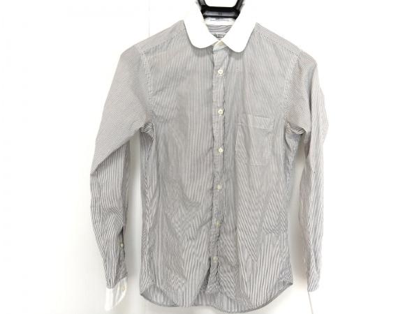 インディビジュアライズドシャツ 長袖シャツブラウス レディース 白×黒 ストライプ