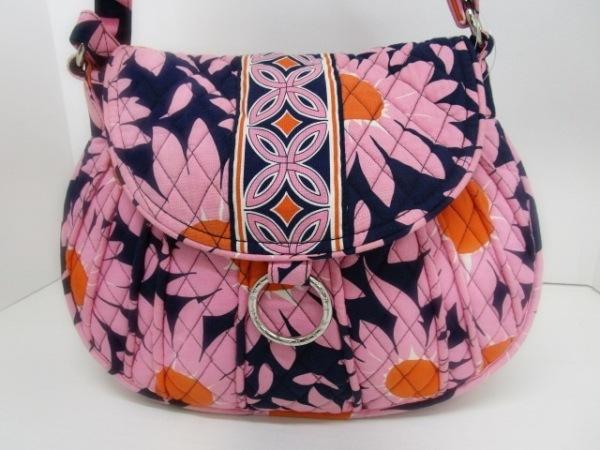 ベラブラッドリー ショルダーバッグ美品  ネイビー×ピンク キルティング コットン