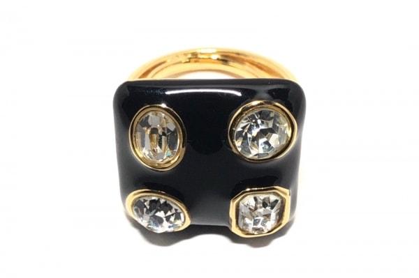 Kenneth(ケネス) リング美品  金属素材×プラスチック ゴールド×黒×クリア ビジュー