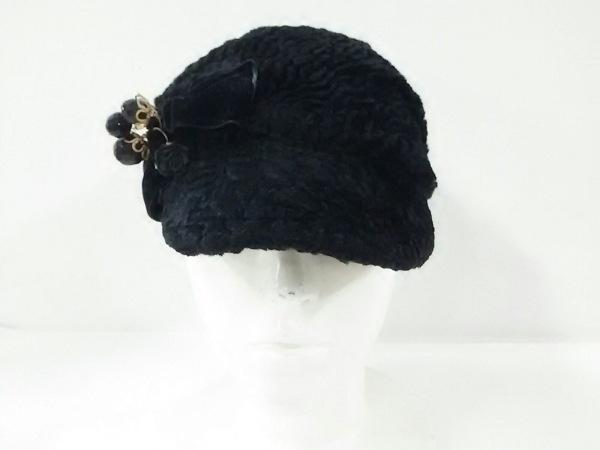 misaharada(ミサハラダ) 帽子美品  黒 ビーズ/フラワー/リボン レーヨン×コットン