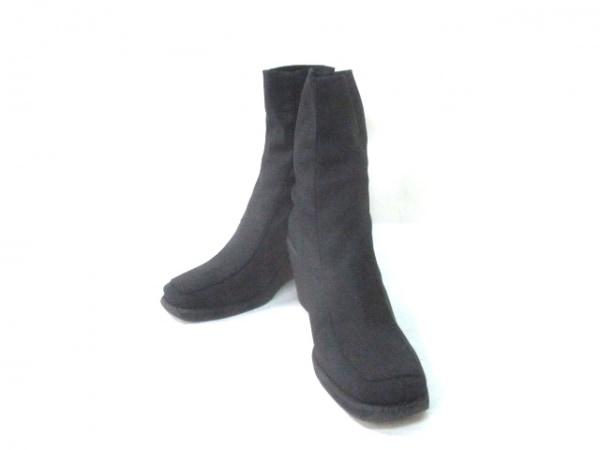 エフバイエーフェリーラ ショートブーツ レディース 黒 ウェッジソール 化学繊維
