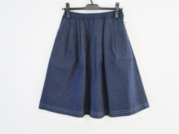 NOKO OHNO(ノコオーノ) スカート サイズ38 M レディース新品同様  ネイビー×白