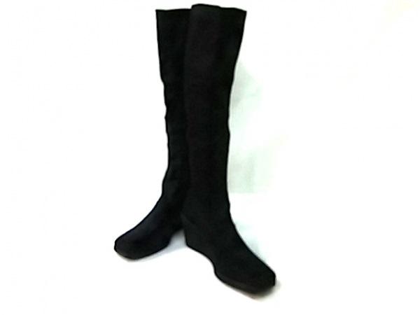エフバイエーフェリーラ ロングブーツ 35  レディース 黒 ウェッジソール 化学繊維