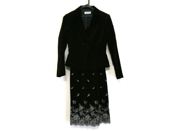 L'EST ROSE(レストローズ) ワンピーススーツ サイズM レディース 黒 ベロア/刺繍