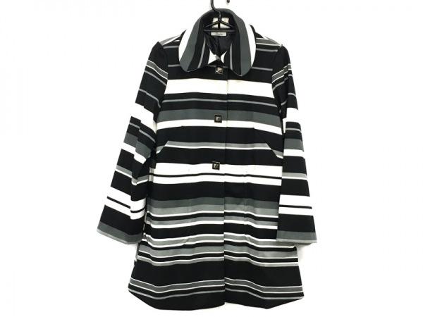 genece(ジェネス) コート サイズ9AR S レディース美品  黒×グレー×白 冬物/ボーダー
