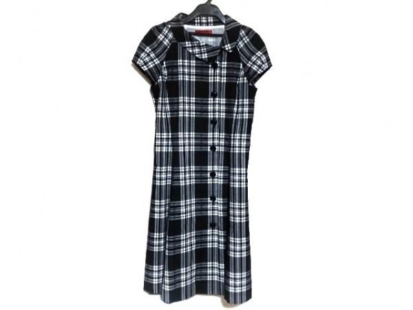 ヨークランド ワンピース サイズ9 M レディース美品  黒×白 チェック柄/シャツワンピ