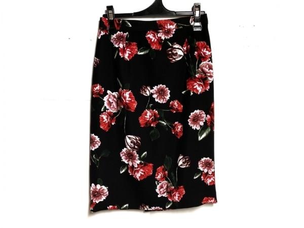 ピンキー&ダイアン スカート サイズ38 M レディース美品  黒×レッド×マルチ 花柄
