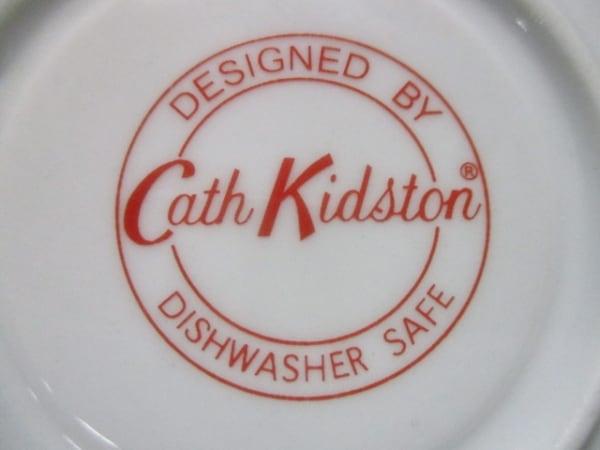 キャスキッドソン カップ&ソーサー新品同様  白×マルチ 花と鳥//2客セット 陶器