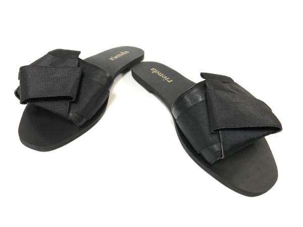 rienda(リエンダ) サンダル S レディース美品  黒 リボン 合皮×化学繊維