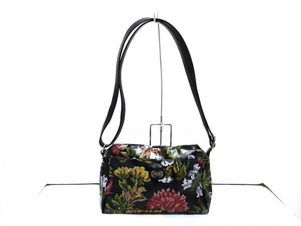 フェイラー ショルダーバッグ美品  黒×レッド×マルチ 花柄 PVC(塩化ビニール)×合皮