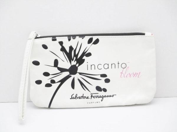 サルバトーレフェラガモ パフューム ポーチ 白×黒×ピンク 合皮